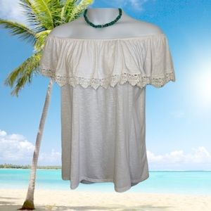 🌴🚢  Fred David  Casual Off Shoulder White Blouse